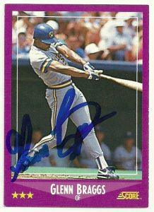 Glenn Braggs Signed 1988 Score Baseball Card - Milwaukee Brewers