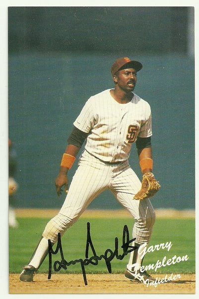 Garry Templeton Signed San Diego Padres Postcard - Team Issued