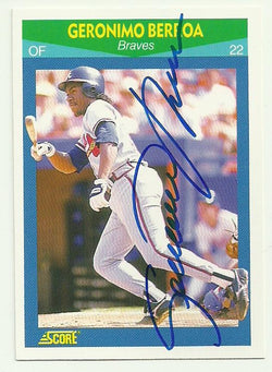 Geronimo Berroa Signed 1990 Score Rising Star Baseball Card - Atlanta Braves