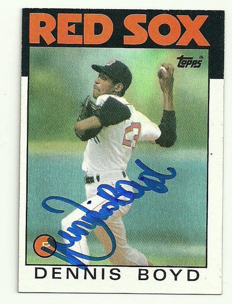 Dennis 'Oil Can' Boyd Signed 1986 Topps Baseball Card - Boston Red Sox