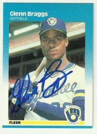 Glenn Braggs Signed 1987 Fleer Baseball Card - Milwaukee Brewers