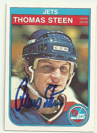 Thomas Steen Signed 1982-83 O-Pee-Chee Hockey Card - Winnipeg Jets - PastPros