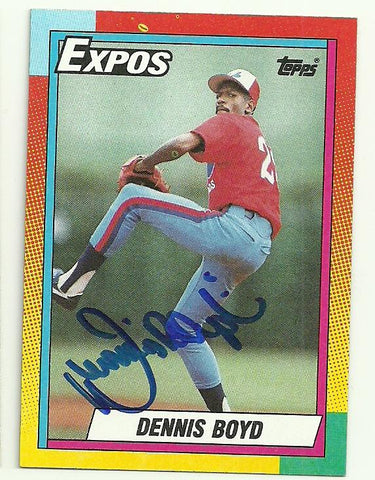 Dennis 'Oil Can' Boyd Signed 1990 Topps Baseball Card - Montreal Expos