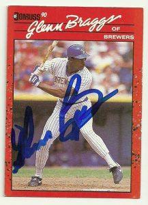 Glenn Braggs Signed 1990 Donruss Baseball Card - Milwaukee Brewers