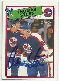 Thomas Steen Signed 1988-89 O-Pee-Chee Hockey Card - Winnipeg Jets - PastPros