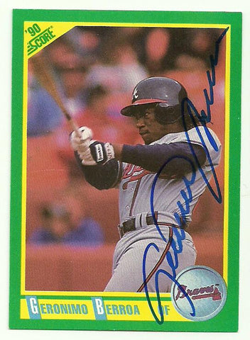 Geronimo Berroa Signed 1990 Score Baseball Card - Atlanta Braves