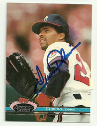 Luis Polonia Signed 1991 Topps Stadium Baseball Card - Anaheim Angels - PastPros