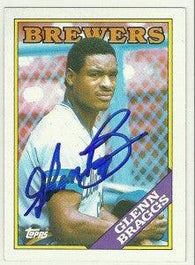 Glenn Braggs Signed 1988 Topps Baseball Card - Milwaukee Brewers