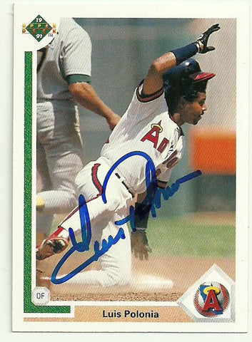 Luis Polonia Signed 1991 Upper Deck Baseball Card - Anaheim Angels