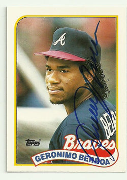 Geronimo Berroa Signed 1989 Topps Baseball Card - Atlanta Braves