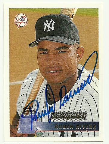 Ruben Rivera Signed 1996 Topps Baseball Card - New York Yankees