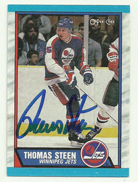 Thomas Steen Signed 1989-90 O-Pee-Chee Hockey Card - Winnipeg Jets