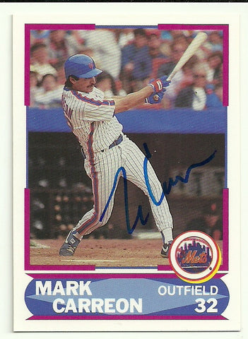 Mark Carreon Signed 1990 Score Young Superstar Baseball Card Ny Mets