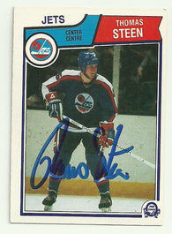 Thomas Steen Signed 1983-84 O-Pee-Chee Hockey Card - Winnipeg Jets - PastPros