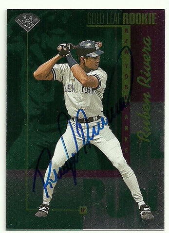 Ruben Rivera Signed 1996 Leaf Baseball Card - New York Yankees