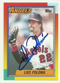 Luis Polonia Signed 1990 Topps Baseball Card - Anaheim Angels - PastPros
