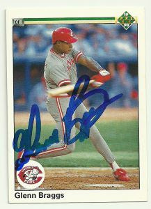 Glenn Braggs Signed 1990 Upper Deck Baseball Card - Cincinnati Reds