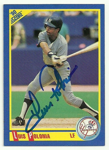 Luis Polonia Signed 1990 Score Baseball Card - New York Yankees