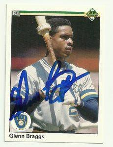 Glenn Braggs Signed 1990 Upper Deck Baseball Card - Milwaukee Brewers