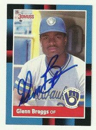 Glenn Braggs Signed 1988 Donruss Baseball Card - Milwaukee Brewers