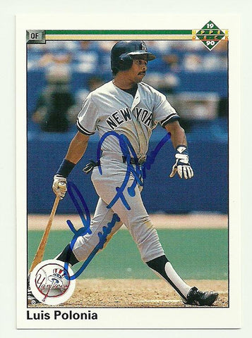 Luis Polonia Signed 1990 Upper Deck Baseball Card New York Yankees