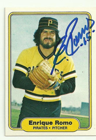 Enrique Romo Signed 1982 Fleer Baseball Card - Pittsburgh Pirates - PastPros