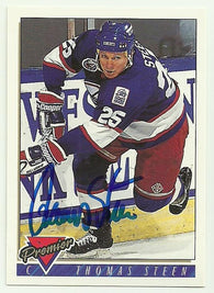 Thomas Steen Signed 1993-94 Premier Hockey Card - Winnipeg Jets - PastPros