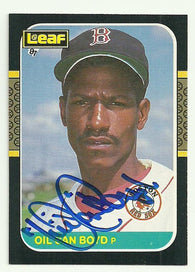 Dennis 'Oil Can' Boyd Signed 1987 Leaf Baseball Card - Boston Red Sox