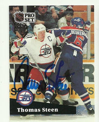 Thomas Steen Signed 1991-92 Pro Set Hockey Card - Winnipeg Jets - PastPros