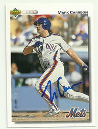 Mark Carreon Signed 1992 Upper Deck Baseball Card - NY Mets