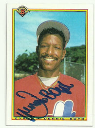 Dennis 'Oil Can' Boyd Signed 1990 Bowman Baseball Card - Montreal Expos