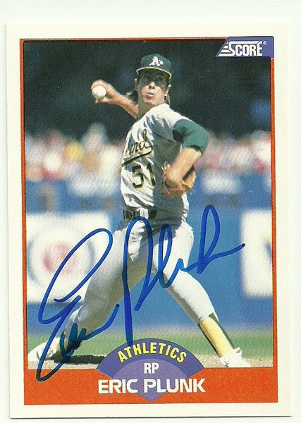Eric Plunk Signed 1989 Score Baseball Card - Oakland A's