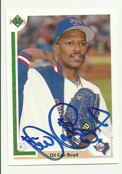 Dennis 'Oil Can' Boyd Signed 1991 Upper Deck Baseball Card - Texas Rangers