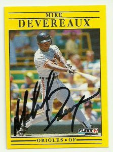 Mike Devereaux Signed 1991 Fleer Baseball Card - Baltimore Orioles