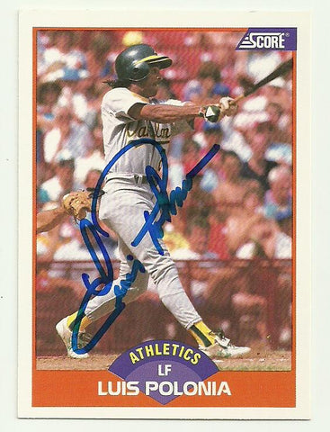 Luis Polonia Signed 1989 Score Baseball Card - Oakland A's - PastPros