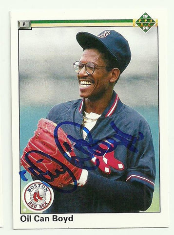 Dennis 'Oil Can' Boyd Signed 1990 Upper Deck Baseball Card - Boston Red Sox
