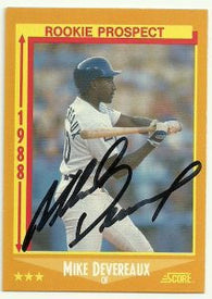 Mike Devereaux Signed 1988 Score Baseball Card - Los Angeles Dodgers