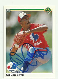 Dennis 'Oil Can' Boyd Signed 1990 Upper Deck Baseball Card - Montreal Expos