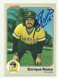 Enrique Romo Signed 1983 Fleer Baseball Card - Pittsburgh Pirates - PastPros