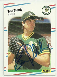 Eric Plunk Signed 1988 Fleer Baseball Card - Oakland A's