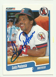 Luis Polonia Signed 1990 Fleer Baseball Card - Anaheim Angels