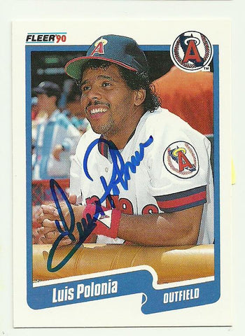 Luis Polonia Signed 1990 Fleer Baseball Card - Anaheim Angels - PastPros
