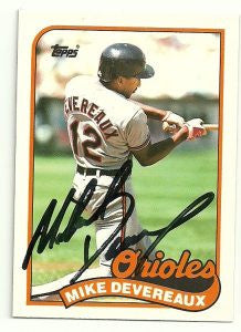 Mike Devereaux Signed 1989 Topps Traded Baseball Card - Baltimore Orioles