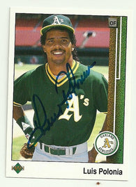 Luis Polonia Signed 1989 Upper Deck Baseball Card - Oakland A's