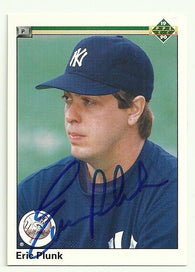 Eric Plunk Signed 1990 Upper Deck Baseball Card - New York Yankees