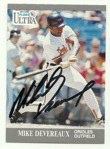 Mike Devereaux Signed 1991 Fleer Ultra Baseball Card - Baltimore Orioles