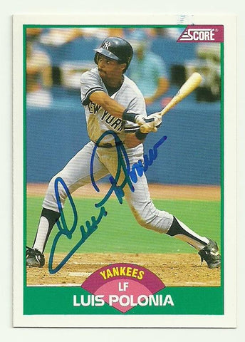 Luis Polonia Signed 1989 Score Baseball Card - New York Yankees - PastPros