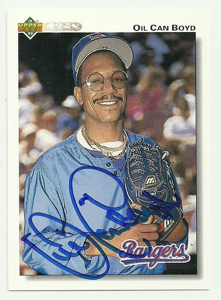 Dennis 'Oil Can' Boyd Signed 1992 Upper Deck Baseball Card - Texas Rangers