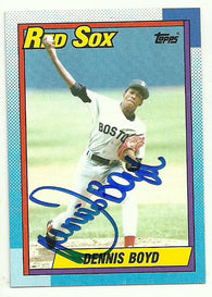 Dennis 'Oil Can' Boyd Signed 1990 Topps Baseball Card - Boston Red Sox