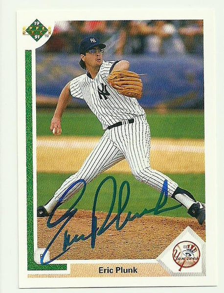 Eric Plunk Signed 1991 Upper Deck Baseball Card - New York Yankees